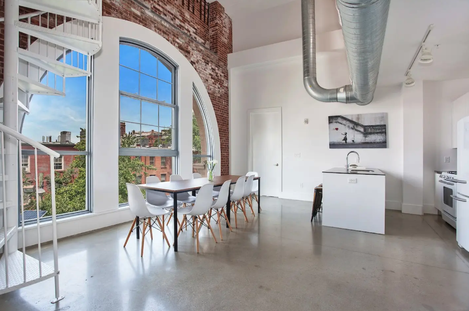 exposed brick on a converted warehouse apartment in jersey city