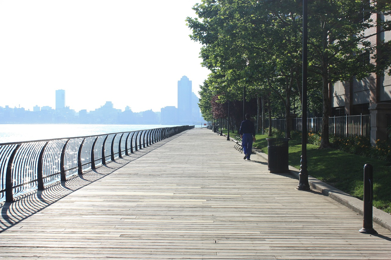 strolling along liberty state park