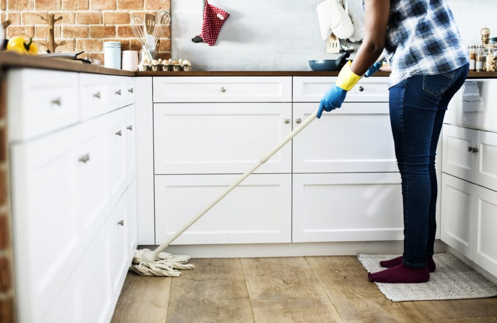 mopping the kitchen